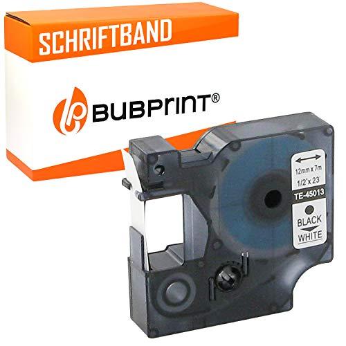 Bubprint Schriftband kompatibel für Dymo 45013 S0720530 für Labelmanager 100 120 150 160 200 Labelpoint 100 150 200 250 300 schwarz auf weiß 12mm x 7m