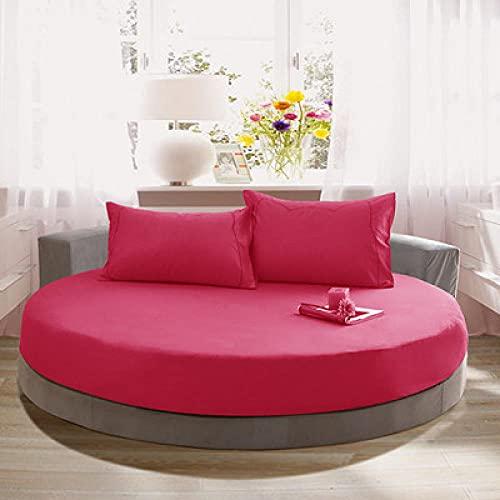 DSman Protector de colchón Acolchado - Microfibra - Funda para colchon estira hasta Funda de Cama Redonda de algodón de Color Liso-Rose Red_2.2m