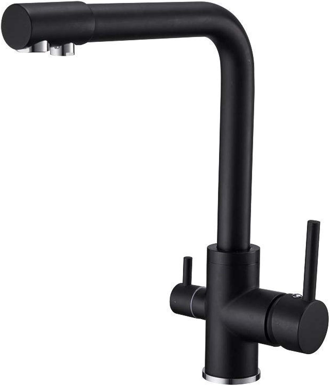 Modern Double Lever Solid Brass 3 Way Kitchen Sink Tap, 2 Handle Filte Pure Mixer Taps 360 Degree Swivel Spout Monobloc Commerce Faucet,Black