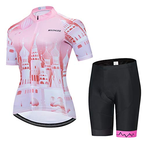 BIYINGEE Women's Cycling Jersey Shorts Set Short Sleeve with Big Reflective Tape Castle Size XL
