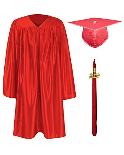 GraduationMall Shiny Kindergarten & Preschool Graduation Gown Cap Set with 2020 Tassel Red 30(3'9'-3'11')