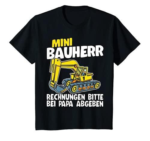 Kinder Mini Bauherr Bagger Geschenk Sohn Enkel Lustig Hausbau T-Shirt