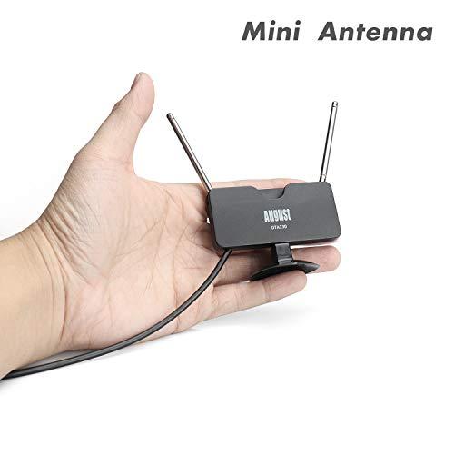 August Antenne TV Intérieur TNT HD Puissante et Portable - DTA230 - Réception sur Télévision Décodeur TNT Radio Dab avec Double Tige Extensibles - 2m de câble + Ventouse pour vitre