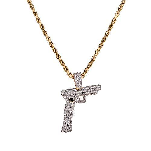 Moca Jewelry Iced Out - Colgante de pistola creativa chapado en oro de 18 quilates con diamantes de imitación para hombre y mujer