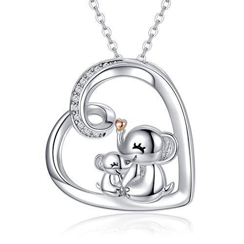 Elephant Necklace 925 Sterling Silver Mother and Daughter Necklace for Women Lucky Elephant Jewelry for Girls