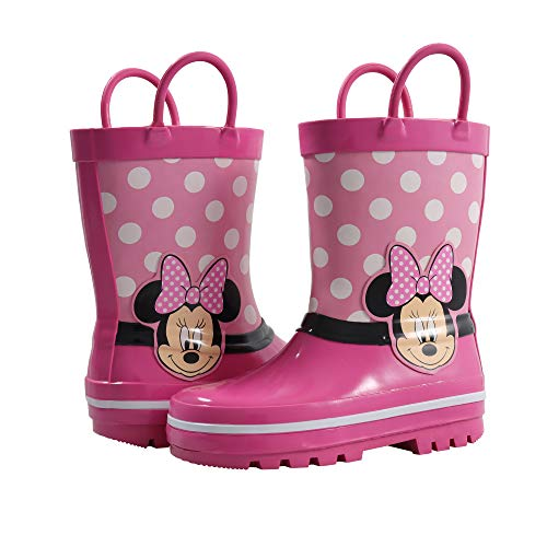 Amazon Essentials Kids' Disney Non-Lighted Rainboots Rain Boot, Pink, 9/10 Medium US Toddler