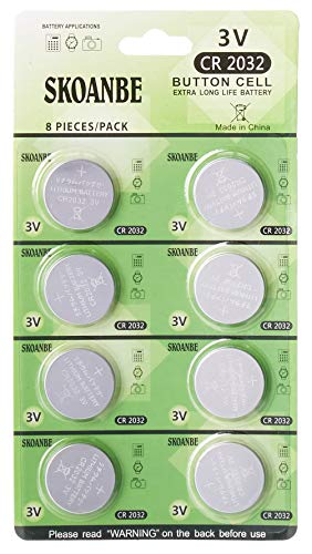 SKOANBE CR2032 3V Button Coin Cell 2032 Lithium Battery (Pack of 8)