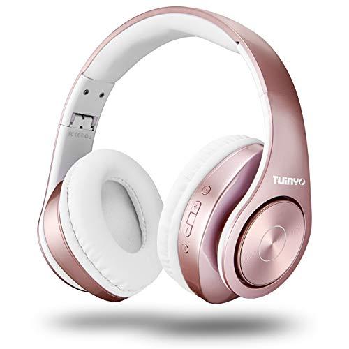 TUINYO Bluetooth-Kopfhörer Over Ear Hi-Fi Stereo Headset drahtloser Kopfhörer mit tiefen Bässen, weichen Ohrenschützern aus Memory-Protein, eingebautem Mikrofon Kabel PC/Handy/Fernseher -Rose Gold