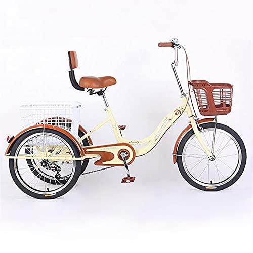 zyy Tres Adultos Triciclos Trike Rueda de 20 Pulgadas Triciclo de 1 Velocidades Triciclo Bicicleta Y Cesta con Carrito para Compras de Deportes Al Aire Libre (Color : Beige)