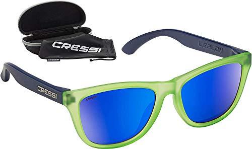 Cressi Leblon Sunglasses, Occhiali da Sole Sportivi con Custodia Rigida Unisex Adulto, Verde/Blu-Lente Specchiata Blu, Unica