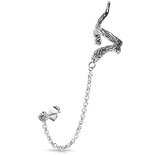 Bungsa® Schlangendesign Ear Cuff Ohrstecker Ohrclip mit Zirkonia silber Edelstahl Snake (Conch Fake Piercing Studs Ohrringe Ohrschmuck Ohrklemmen Damen Frauen Herren Mode)