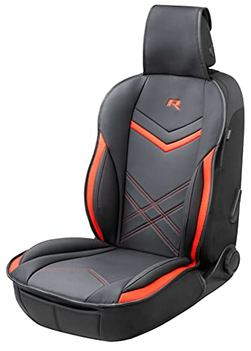 Walser 13982 Autositzauflage, Universelle Sitzauflage und Schutzunterlage in schwarz-rot, Sitzschoner für PKW und LKW in Rennsportoptik