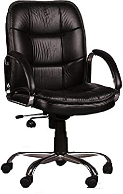 SEAT CHACHA Medium Back Home Office revolving Desk Chair (Black Leatheritte with Crome Base & Push Back Mechanism)