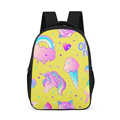 Mochila para niños y niñas con bandolera arcoíris y unicornio, color amarillo, mochila multifuncional para la escuela, mochila de viaje para guardería, escuela primaria