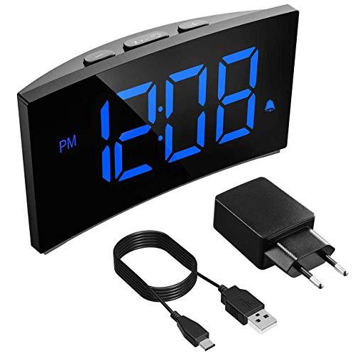 Holife Despertador Digital, [2019 Actualizado] Reloj Despertador Digital de Pantalla Curvada, con Enchufe de Carga, con 3 Sonidos de Alarma, Función Snooze con Botón Grande, 2 Volumen Ajustable - Azul