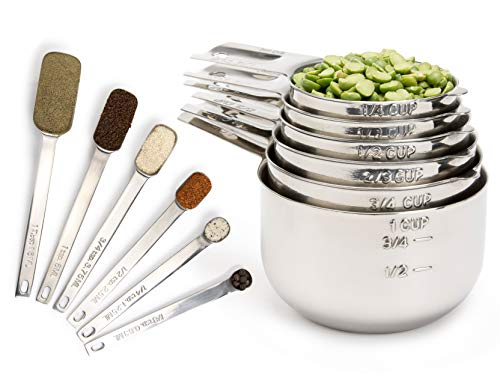 Simply Gourmet Measuring Cups and Measuring Spoons Set Stainless Steel Measuring Cups and Spoons Set of 12. Liquid Measuring Cup or Dry Measuring Cup Set. Stainless Measuring Cups, Nesting Cups