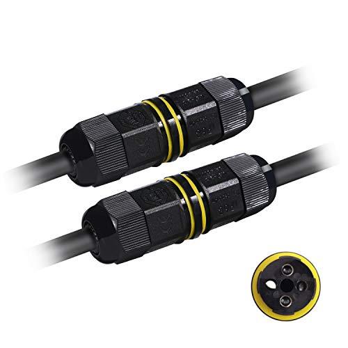 Kabelverbinder, 2 Stück Kabelverbinder Wasserdicht IP68 3 Polig, Erdkabelverbinder Verbindungsbox für Außen Erdkabel Garten, Ø6-11 mm