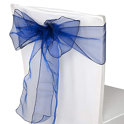Trimming Shop Azul Marino Organza Cintos Cubierta para Silla Color Surtido Fuller Lazo Cinta para Boda, Banquete, Cumpleaños, Evento Decoración, 17cm x 280cm, 75pcs