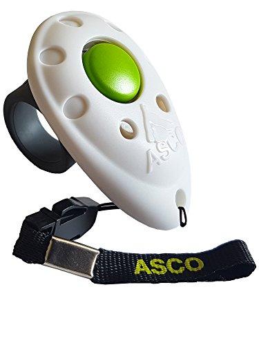 ASCO Clicker prémium, clicker de Dedo para Entrenamiento, clicker Profesional para Perros, Gatos y Caballos, adiestramiento de Perros con clicker, Blanco AC05F