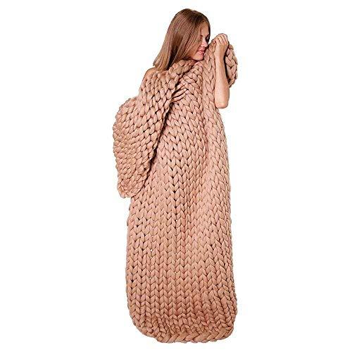 YFQ Grob gestricktes Island Wolldecke Super große Hand Stricken Decken-Sofa Klimaanlage Decke Nap Blanket Haustier-Bett-Stuhl-Yoga-Matten-Wolldecke (Color : Khaki, Size : 120x150cm)