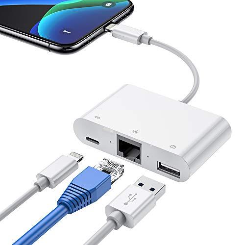 Hoplaza Adaptador de Red con Cable LAN Ethernet RJ45, Adaptador Ethernet para Phone, 3 en 1 y Adaptador de Lector de Cámara USB OTG para Phone/iPad, iOS 10.0 o Superior Requerido (White)