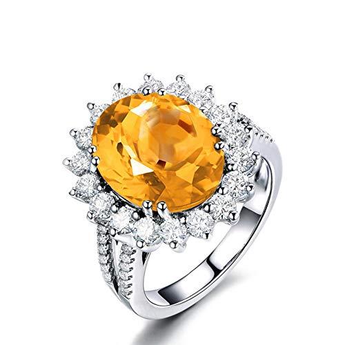 Beydodo Anillos Mujer Plata Ley,Anillo de Compromiso Mujer Amarillo Plata Oval 12X10MM Citrina Amarillo Blanco Anillo Talla 21