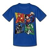 Spreadshirt DC Comics Ligue De Justice D'Amérique Héros T-Shirt Enfant, 5-6 Ans, Bleu Royal