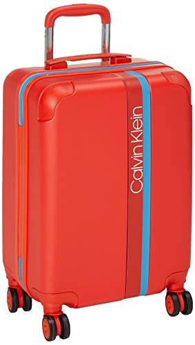 Calvin Klein Avenue Lanes Hardside Spinner Luggage with TSA Lock, Orange, 20 Inch