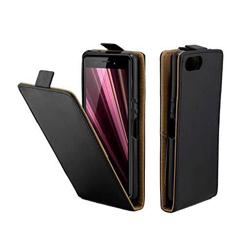 Liaoxig Custodie Sony Custodia in Pelle in TPU Verticale in Stile Business con Slot for schede for Sony Xperia XZ4 Compact   XZ4C (Nero) Custodie Sony (Colore : Black)