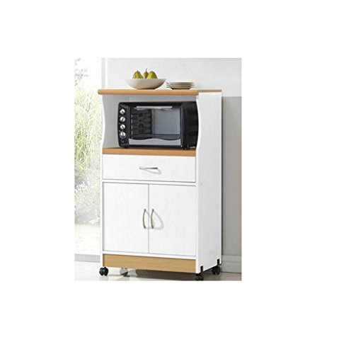 Microwave Cart Stand - White Finish - One Shelf for the Microwave and Another Shelf Above Plus a Drawer and Cabinet Below