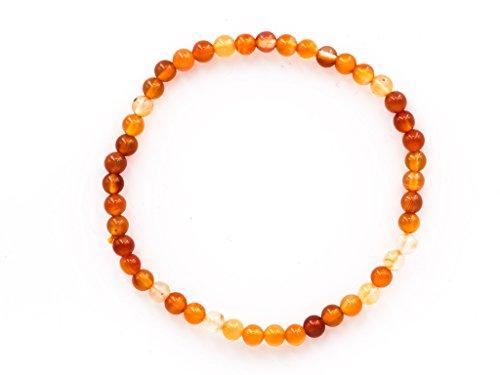 Taddart Minerals – Pulsera de color naranja de la piedra preciosa natural cornalina con bolas de 4 mm en hilo elástico de nailon – hecha a mano