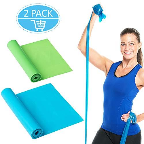 OMEW Fitnessbänder 2 Stück 1,5m Länge Elastisch Gymnastikband Übungsbänder Fitness Bänder Ideal für Muskelaufbau Physiotherapie Pilates Yoga Gymnastik und Crossfit