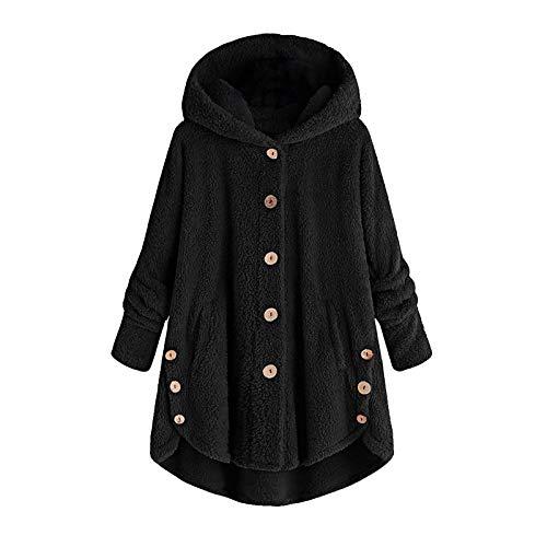 UOFOCO Hoodies for Women Fleece Asymmetrical Button Hem Plus Size Top Sweater Blouse Pullover Hoodie ((US 20)/XX-Large, Button-Black)