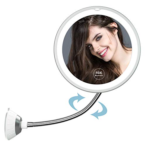 Cutygirl 10X Magnifying Mirror with Light Makeup Mirror with Lights LED Lighted Makeup Mirror Vanity Mirror with Lights Flexible Gooseneck Mirror with Lights with Powerful Suction Cup