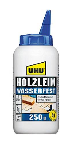 UHU Holzleim Wasserfest Flasche, Universeller und wasserfester Weißleim - geeignet für alle üblichen Holzarten und -verklebungen, 250 g