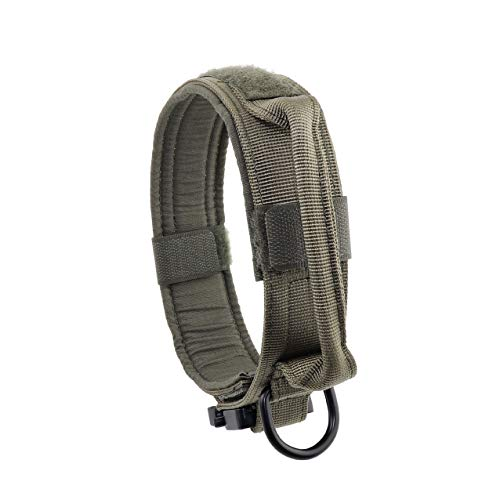 "Yunlep Adjustable Tactical Dog Collar Military Nylon Heavy Duty Metal Buckle with Control Handle for Dog Training,1.5"" Width (L, Ranger Green)"