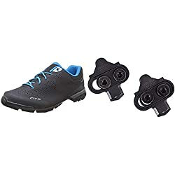 Product 1: Shimano MT3 (MT301) SPD shoes, Black, Size 44 Product 2: Shimano SH51 SPD single release cleats Product 2: Recommended for all MTB SPD pedals except PD M858 Product 2: Release the cleat by twisting heel outwards Product 2: To Fit – PD-M9...