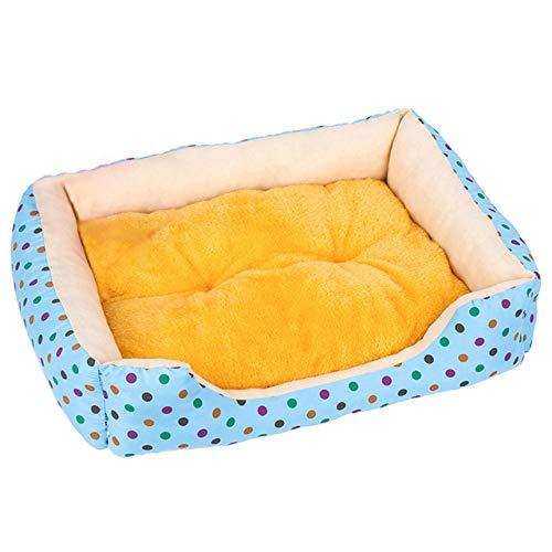 Page Adelasd Zwinger Hund Bett Matte Haustier Hund Welpen Fleece Matte Winter Plüsch Bett Haus wasserdichte Tuch Nest Matratze Für Blau L 65x55x13cm
