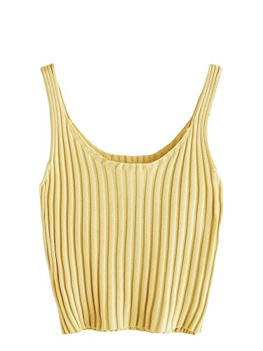 SweatyRocks Women's Ribbed Knit Crop Tank Top Spaghetti Strap Camisole Vest Tops Yellow M