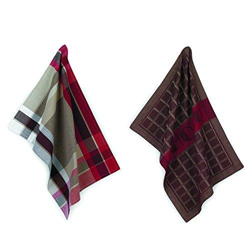 kela Set torchon de Cuisine Chocolat 50x70cm 2 pièces en Coton, Brun/Blanc/Rouge, 50x70x1 cm