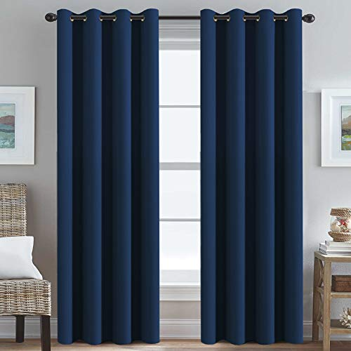 Ultra Soft Premier Blackout Curtain for Living Room Extra Long 96 inch Length, Thermal Insulated Bedroom Curtains Grommet Top, Noise Reducing Patio Door Blackout Curtain - Navy Blue, One Panel