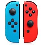Joy-Pad Controller Compatible with Switch Joycons with Wrist Strap, Switch Controller Supports Wake-up Function(Blue and Red)