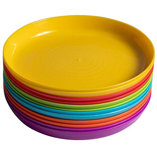 Klickpick Home Kids Plates - 12 Pcs Plate Children Plastic Plates Dishes Reusable - 6 Bright Colors Dishwasher Microwave Safe BPA Free Plate Perfect for Kid and Toddlers