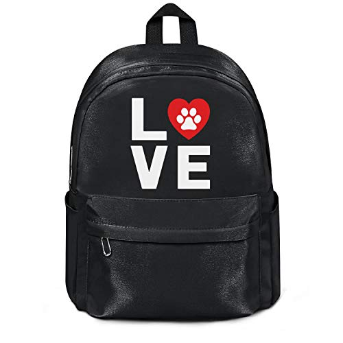 Animal Lover Dog Paw Print Love Dogs My Best Friend College Bookbag Fashion Nylon Packable School Backpack Bag Purse