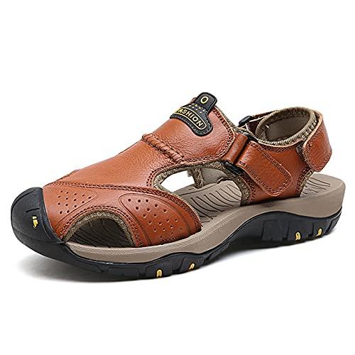 N\C Sandalias Deportivas al Aire Libre Sandalias de Cuero de Playa para Hombres Verano Transpirable Zapatos de Piel de Vaca de Seda de Hielo de Gran tamaño Ocio Baotou Playa Sandalias para Hombres