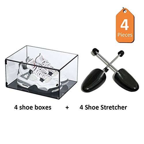 ADAHX 4 pcs Sneaker Display Box and Shoe Stretcher Shoes Storage Case Organizers Wall Drop-Front Stackable Dust Free Shoe Organizers Holder Cleans for Closet Shelf,E