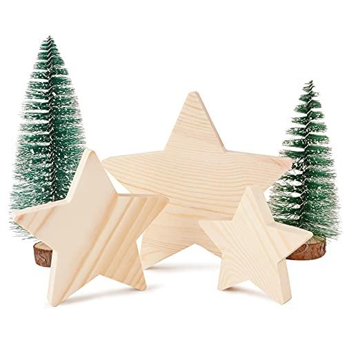 BHGT 5 Pz Stelle Decorative Legno Grezzo Mini Albero di Natale Artificiale Decorazioni da Tavolo Natalizie Ornamenti Fai da Te