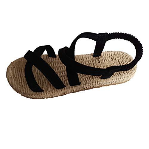 WWricotta Women's Flat with Cross Straps Open Toe Sandals Fashion Hollow Elastic Slippers(Schwarz,36)