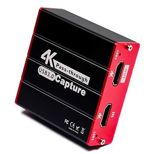ShuOne キャプチャーボードHDMIゲーム 4K USB3.0ビデオ キャプチャーボード 対応 Windows, Linux, MAC対応 電源不要 PS4、PS5、XboxやNintendo Switch用 YouTube/Twitchなどにゲーム録画 実況 配信 ライブ会議用