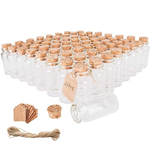 64PCS 30ml Cork Stoppers Glass Bottles, Small Jars With Personalized Label Tags and String, Mini Bottles Of Candy, Wedding Favors For Guests, Set of 64